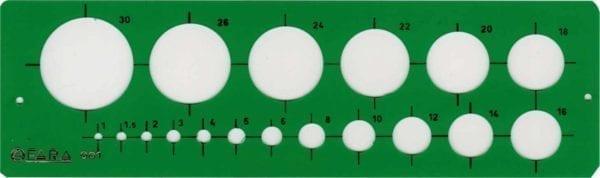 Maschere PROFESSIONALI FARA O STANTARDGRAPH - 18 cerchi da mm. 1 a mm. 30