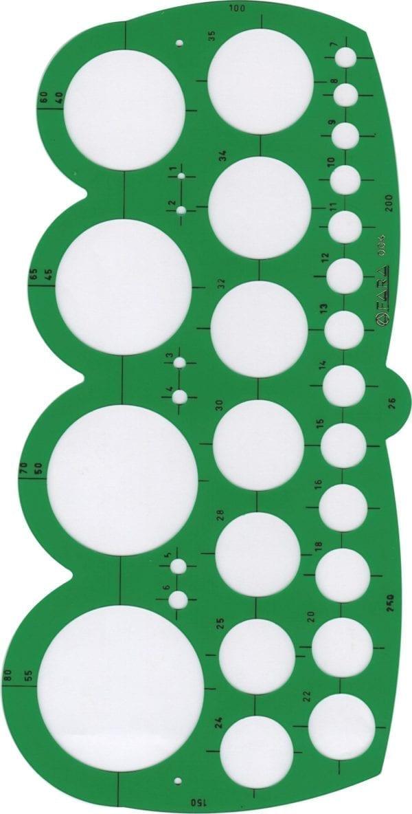 Maschere PROFESSIONALI FARA O STANTARDGRAPH - 39 cerchi ed archi da mm. 1 a mm. 250
