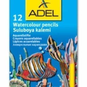 ADEL ACQUARELLABILI - Astuccio da 12 matite colorate acquarellabili con pennellino