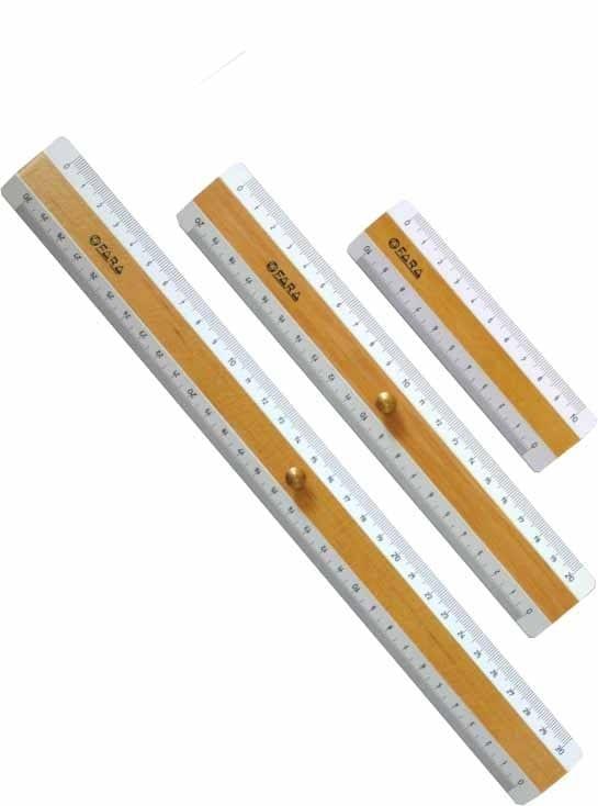Righe e Righelli in legno - Triplodecimetro con pomellino 30cm