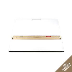 Tavoletta grafica rettangolare bianca con maniglia e riga per disegno in legno