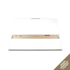Tavoletta grafica rettangolare bianca senza maniglia e con riga per disegno in legno