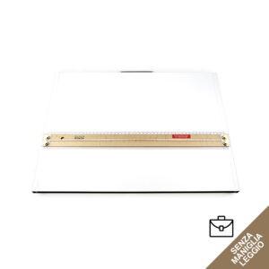 Tavoletta grafica rettangolare bianca senza maniglia, con riga per disegno in legno