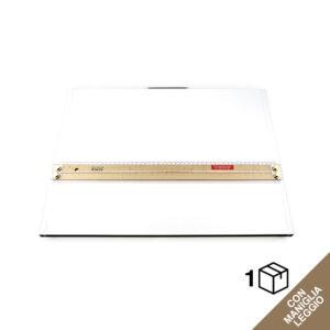 Tavoletta grafica rettangolare bianca con riga per disegno in legno